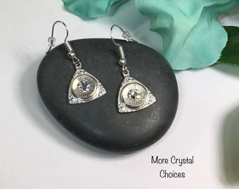 Bullet Earrings Made With Genuine 100% Pewter, Winchester 9 mm Bullets & Swarovski Crystals