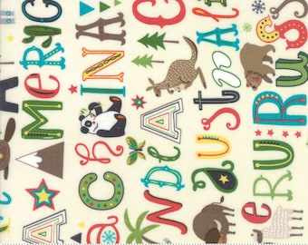 Moda Fabric HELLO WORLD Alphabet on Cream- yards