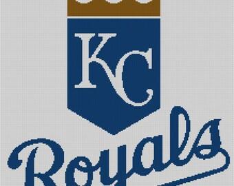 Kansas City Royals Logo -- Counted Cross Stitch Chart Patterns, 3 sizes!