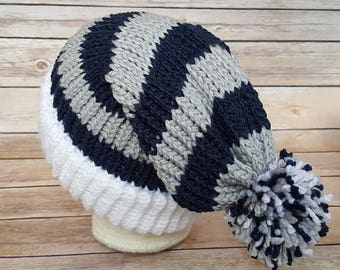 Blue Silver Slouchy Hat, Blue Silver Sports Team Hat, Cowboys Hat, Knitted NFL Hat, Knit Dallas Cowboys Hat, Cowboys Beanie, Blue Gray Hat