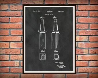 Patent 1934 Beer Bottle - Art Print Poster - Wall Art - Tavern Art - Sports Bar Art - Beer Processing - Craft Beer Wall Art