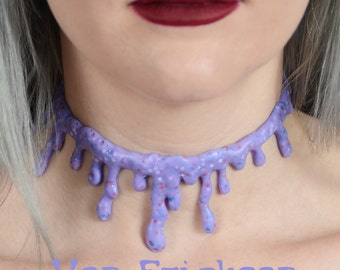 Dripping Blood  Necklace Choker  -Creepy Cute Lilac Candy Drip Kawaii Pastel goth