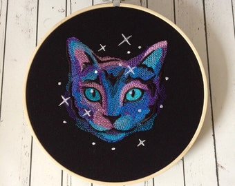 Galaxy Cat Embroidery Wall Art, Cat Home Decor
