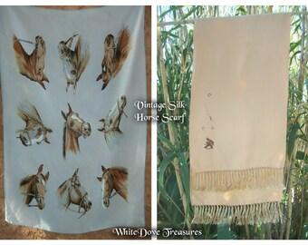 Soie foulard cheval des années 1950 ~ foulard Vintage soie opéra ~ brodé cheval soie foulard ~ cravate sud-ouest ~ Western Wear ~ Cravat ~ Ascot