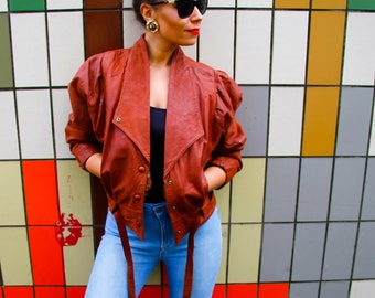 Rust Brown Leather Jacket