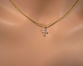 Crystal Cross Necklace, Gold Necklace, Cross necklace