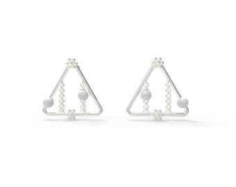 Snowflake window triangle Earring-Sterling Silver, Pearl