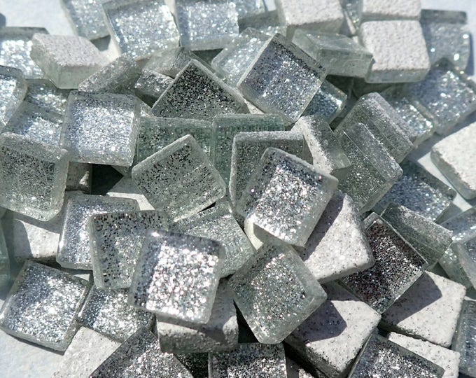 Silver Glitter Tiles - 1 cm - Use for Mosaic Jewelry Crafts - 100 Metallic Tiny Glass Tiles - Shiny Silver