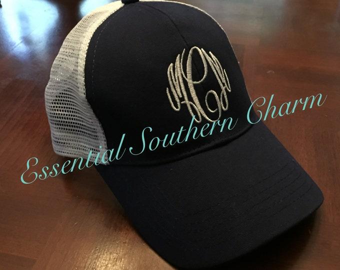 Monogrammed Trucker Hats | Sorority Greek | Embroidered hat