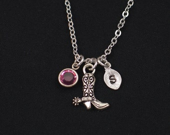 tiny cowboy boot necklace, sterling silver filled, initial necklace, birthstone necklace, cowgirl necklace, cowgirl jewelry, country,cowgirl