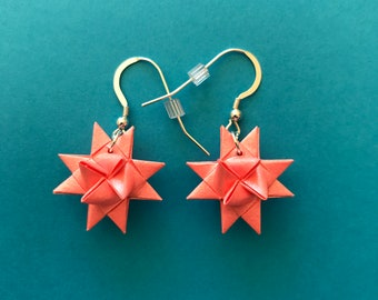 Moravian Star Earrings—Coral Shimmer