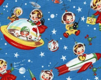 Rocket Rascals in Space -  Michael Miller Retro Rocket Rascals - 100% cotton -  FBHY - Juvenile