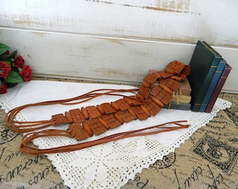 Tan Leather Tie Belt with Wood Beads - One Size Fits Most