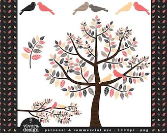 Love Birds Romantic Rhapsody - Digital Clip Art