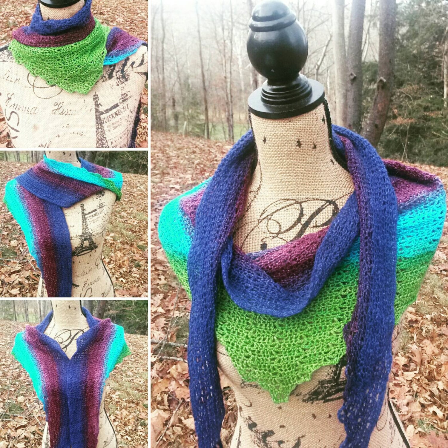 Gradient Scarf, lime green, blueberry and purple scarf, Merino scarf, Ombre Shawl, Triangle Scarf, Light weight Boho shawl, Gift for her