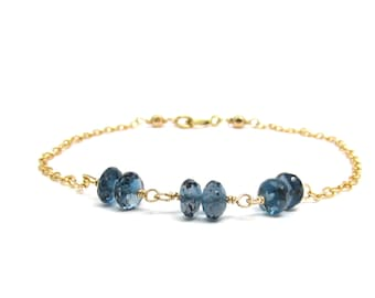 London blue topaz bracelet, December birthstone bracelet, gold filled blue gemstone jewelry, genuine blue topaz jewelry, ocean blue bracelet