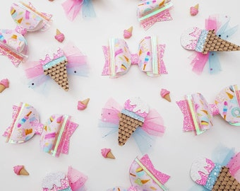 Pretty summer ice cream medium bow / ice cream feltie