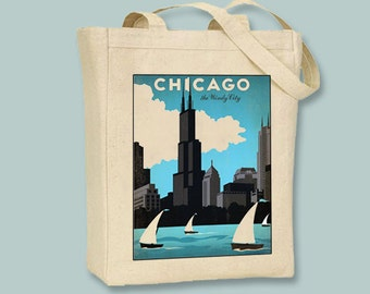 Chicago Lakefront Windy City Vintage Travel Poster on Black or Natural canvas Tote - Selection of sizes available