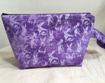 Knitting Project Bag, Sock Bag, Project Bag, Small Knitting Project Bag, Easter Inspired Knitting Bag, WIP Bag, Bunnies
