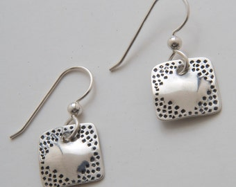 Silver Square Diamond Earrings made from Vintage US Silver Dimes