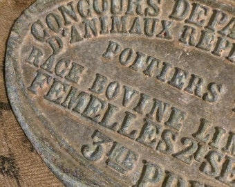 "1937 Vintage French Sign ""Concours de Poitiers"" Bovine Competition Plaque"