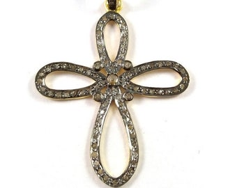 Summer Sale 50% 1 Piece Pave Diamond Cross  Pendant  925 Sterling Silver Vermeil Antique Finish Pendant 925 Sterling  42 mm X 28 mm #Gsd021