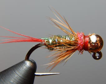 Three (3) Red Dart Flies, w/ tungsten weight, size 12-16 for Euro fly fishing and fly fishing