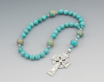 Celtic Rosary - Anglican Prayer Beads - Turquoise Magnesite - Christian Gifts - Item # 786