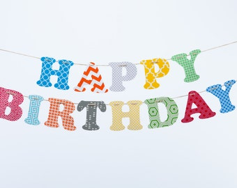 Custom Name Banner ~ Happy Birthday Banner ~ Fabric Letters ~HAPPY BIRTHDAY Collection