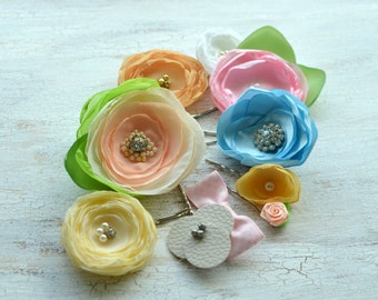 FLOWER SALE- Floral hair accessories, fabric flower pins, hair pins, fabric flowers, silk flowers bulk, spring pastel flowers- 10pcs- set 10