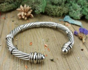 Vintage Stainless Steel Woven Bangle Bracelet