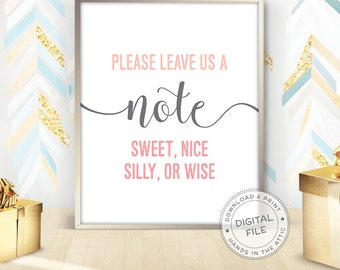 Please leave us a note, guestbook sign, best wishes sign, reception table, wedding welcome, wedding day, guest book, visitor book, DIGITAL