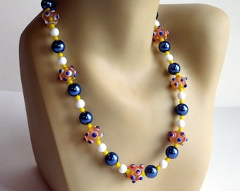 Colorful Glass Lampwork Bead Necklace in Blue, Yellow, White, Red - Bumpy Handmade Glass Beads - Dark Blue-Gray Faux Pearls - 22 Inches