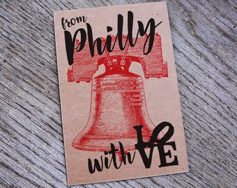From Philly With Love Letterpress Postcard Print