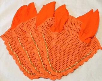 Pony Size Blaze Orange Ear Bonnet, Horse Fly Bonnet, Ear Net, Horse Ear Net, Ear Bonnet, Fly Veil, Orange Tack, Orange Ear Net