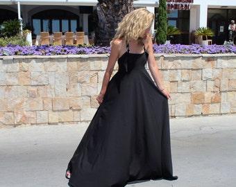 Black Dress, Open Back MaxI Dress, Evening Dress, Hot Summer Maxi Dress, Extravagant Long Dress by Astraea-4010