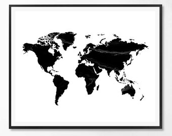 World map print, Map print, Marble Print, Black and white, Nordic art, Typography Wall Art Print, Printable Quote, Minimalist, Scandinavian