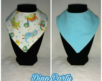 FREE SHIPPING - Reversible bandana bib - Dino party