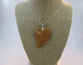 Beautiful Necklace Heart Shaped Leopard Skin Jasper Pendant #38.