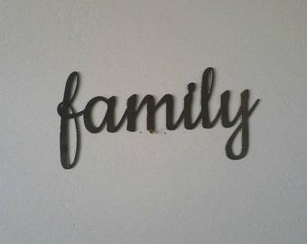 Family Metal Sign, Family Sign, Family Metal Word, Family Metal Art