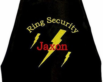 Super Hero Ring Bearer Lighting Bolt Cape,  Embroidered Ring Bearer Cape Personalized Wedding Photo Op