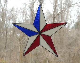 U.S.A. Flag Star Stained Glass
