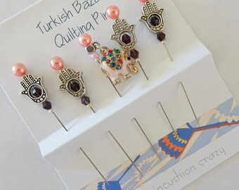 Fancy Quilting Pins - Pink Elephant - Turkish Bazaar - Silvertone Hamsa Pins - Gift for Quilter - Sewing Gift - Craft Pins - Pincushion Pins