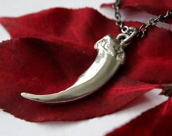 Alaskan Wolf Claw Necklace in Solid Sterling Silver Wolf Claw Necklace 025