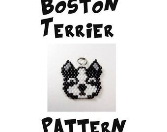 Boston Terrier Dog Beading PATTERN - Charm / Jewelry, Brick Stitch Bead Weaving, Seed Bead Animal