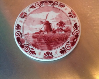 Ceramic trivet antique hand painted made in Amsterdam collectible