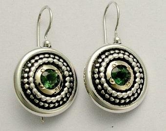 Green quartz earrings, oxidized earrings, medallion earrings, sterling silver earrings, mixed metal earrings - Green Heart - E0294X