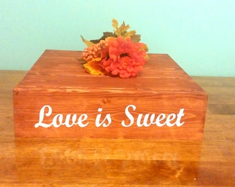 Love is Sweet - Personalized Wedding Cake Stand, vinyl message, Reclaimed wood, Rustic wedding