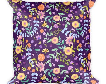 Handprinted Water-colour Spring Flowers Square Pillow