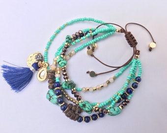 5-Piece Turquoise Boho Chic Bracelet//Stackable Tassle Charm Bracelet//Adjustable Bracelet